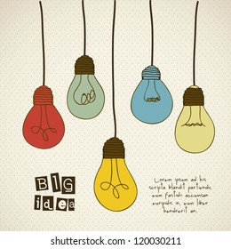 Illustration of different types of bulbs with vintage colors, vector illustration