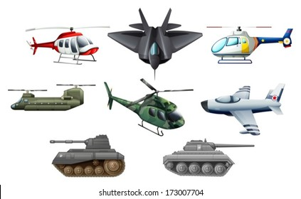 Illustration of the different war transportation objects on a white background