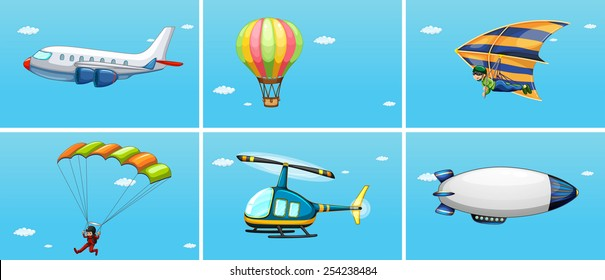 Illustration of different ways of transportations in the sky