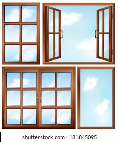 Illustration of the different window designs on a white background