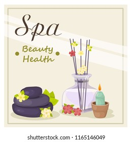 illustration with diffuser, spa stones, candles, vector - Shutterstock ID 1165146049