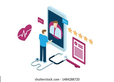 illustration of digital consultations between patients and doctors, online clinics with isometric design concepts