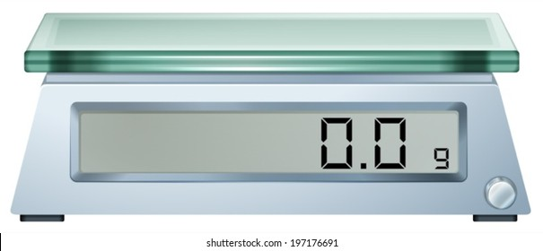 Illustration of a digital weighing scale on a white background
