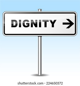 Illustration of dignity sign on sky background