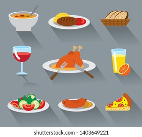 illustration of dinner food dishes flat icons