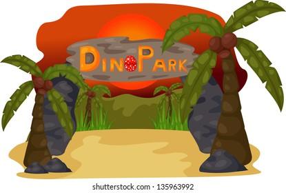illustration of Dino Park Evening background