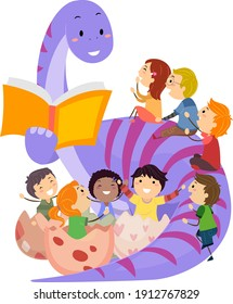 Illustration of a Dinosaur Mascot Reading a Book and Telling Story to Stickman Kids