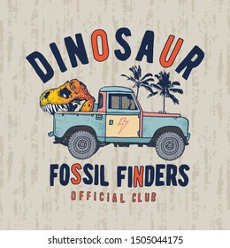 Illustration of a dinosaur skull and pickup truck. Fossil finders vector graphic.