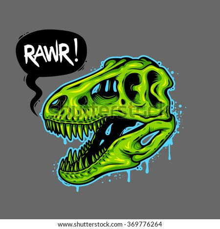 0deb72d45 Illustration of dinosaur skull with text bubble. Tyrannosaur Rex. T-shirt  print