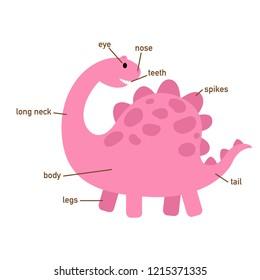 Illustration of dinosaur vocabulary part of body.vector