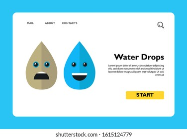 Illustration of dirty and clean water drops. Cartoon characters, pollution, dirty water. Water pollution concept. Can be used for topics like environment, pollution, ecology