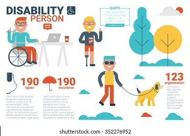 Illustration of disability person infographic concept with icons and elements