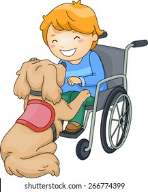 Illustration of a Disabled Boy Playing with an Assistance Dog