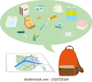 """Illustration of disaster hazard map and disaster prevention goods.Japanese characters are """"Emergency rations"""" and """"curry""""."""