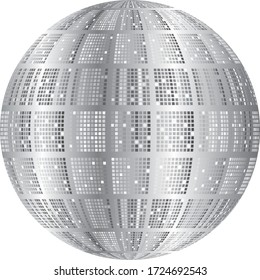 Illustration of a disco ball in shades of gray