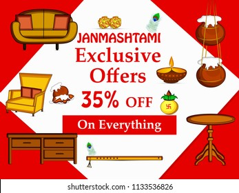 Illustration of Discount offer background for the ocassion of hindu festival Janmashtami