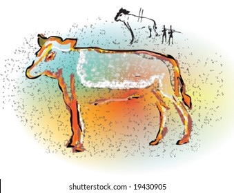 Illustration of discovered cave painting and etching depicts a scene of hunting magic