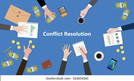 illustration of discussion about conflict resolution in a team work with paperworks on top of table
