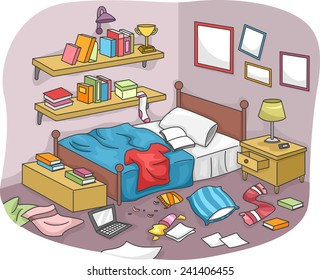 Illustration Of A Disorganized Room Littered With Pieces Trash