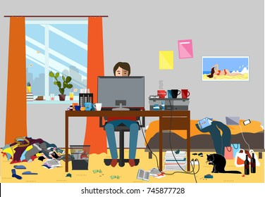 Illustration of a Disorganized Room Littered With Pieces of Trash. Room where young I.T. Guy, Bachelor or Student lives. Vector messy room