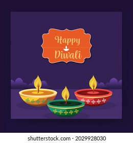 illustration of Diwali background for Dipawali , an Indian  festival, vector banner poster greeting card