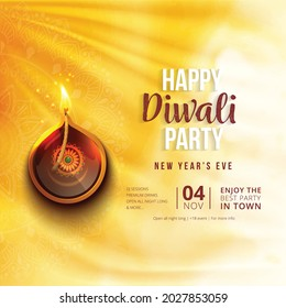 illustration of Diwali background for Dipawali invitation card,, an Indian  festival, vector banner poster greeting card