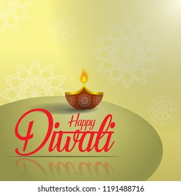 illustration of diwali with beautiful traditional Indian lamp decorations, ganpati and deepavali celebrations with diya lights
