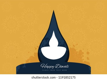 Illustration of diwali diya with yellow background and space for text.