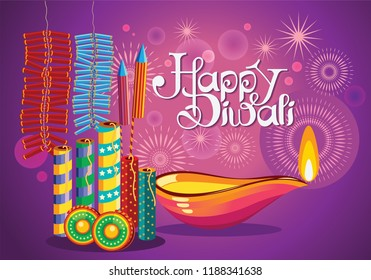 Illustration of diwali with with lamps and firecrackers. Diwali is the Hindu festival of lights, which is celebrated every autumn in the northern hemisphere. One of the most popular festivals of Hindu