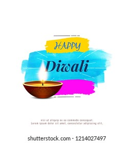 Illustration of diwali with with lamps and quotes. Diwali is the Hindu festival of lights, which is celebrated every autumn in the northern hemisphere. One of the most popular festivals of Hindu