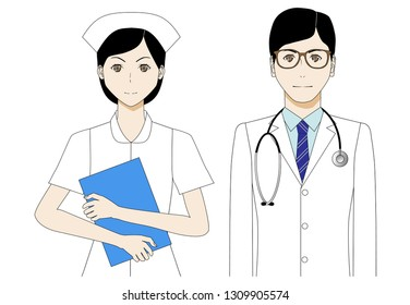 Illustration of doctor and nurse in white coat.