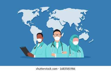illustration doctor on world map. they are covid-19 hero. fighting coronavirus disease. helping people who infection around the world or country.  health care on hospital or clinic.