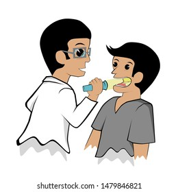 Illustration of a doctor shining a light Oral health check up,health care