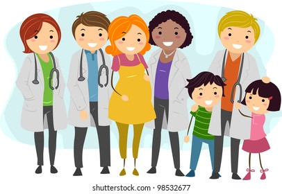 Illustration of Doctors Surrounded by Their Patients