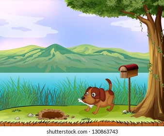 Illustration of a dog with a bone beside a wooden mailbox