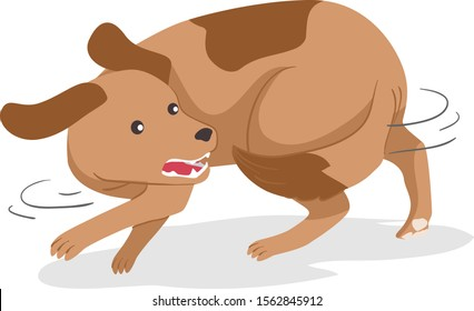 Illustration of a Dog Chasing Its Own Tail and Trying to Bite It