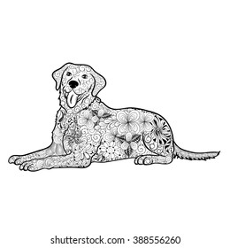 "Illustration ""Dog"" was created in doodling style in black and white colors.  Painted image is isolated on white background.  It  can be used for coloring books for adult."