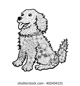 """Illustration """"Dog"""" was created in doodling style in black and white colors.  Painted image is isolated on white background.  It  can be used for coloring books for adult."""