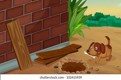 Illustration of a dog digging for a bone