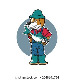 illustration of dog fishing vector design