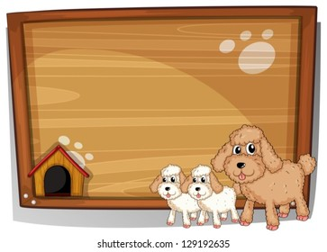 Illustration of a dog and her puppies on a white background