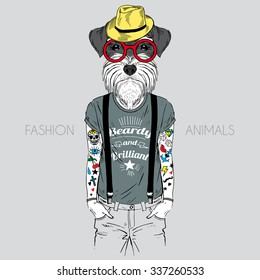 Illustration of dog hipster with tattoo dressed up in t-shirt with quote