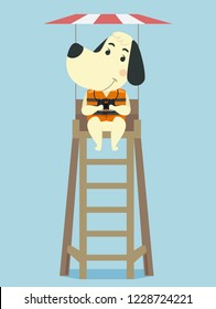 Illustration of a Dog Lifeguard Holding Binoculars and Sitting on a Tower