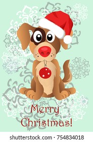 Illustration with a dog puppy in Santa's Christmas hat. Can be used as a banner
