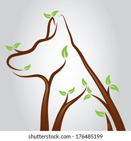 Illustration of a dog shape growing from tree branches/Dog Tree Vector
