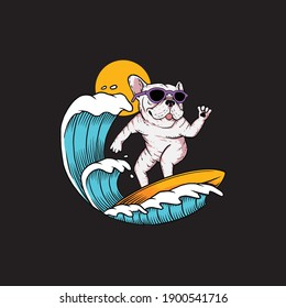Illustration of Dog Surfing Mascot Vector The Concept of Isolated Technology. Flat Cartoon Style Suitable for Landing Web Pages, Banners, Flyers, Stickers, Cards