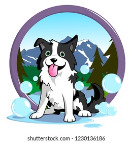 Illustration of a dog that feeling fresh after grooming