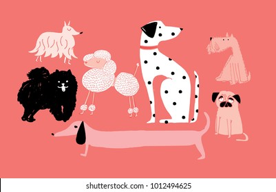 illustration of dogs vector