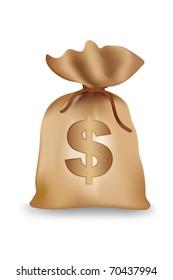 illustration of dollar money bag on isolated background
