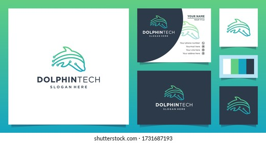 illustration of dolphin logo on the theme of technology. the dolphin technology logo. Design logos, icons and business cards. Premium vector.